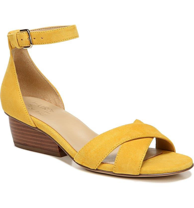 NATURALIZER Caine Ankle Strap Sandal, Main, color, YELLOW SUEDE