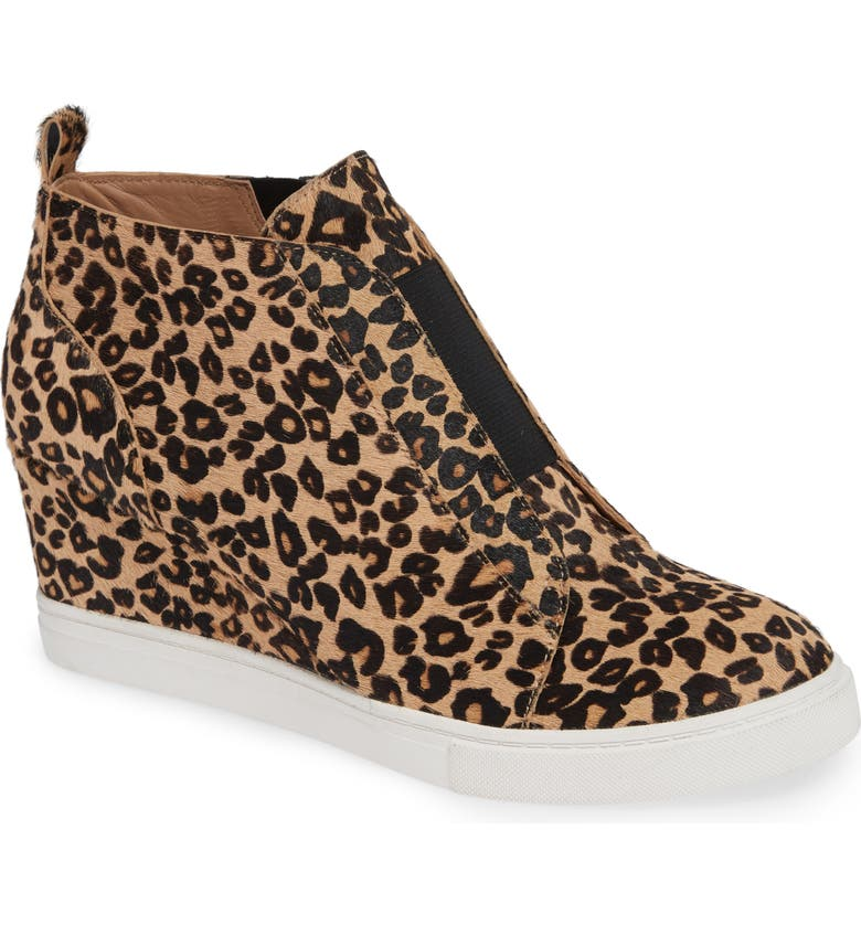 LINEA PAOLO Felicia III Genuine Calf Hair Wedge Sneaker, Main, color, LEOPARD PRINT HAIR CALF