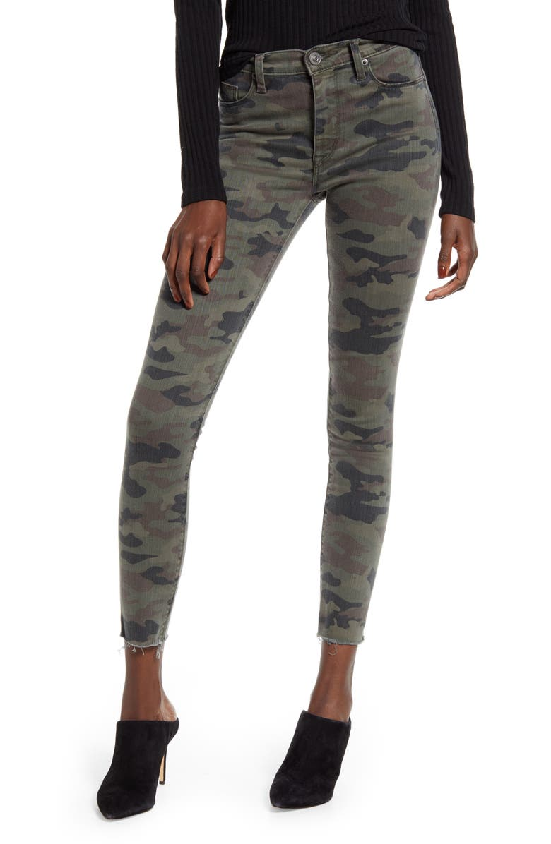 HUDSON JEANS Barbara High Waist Camo Raw Hem Ankle Skinny Jeans, Main, color, KIRKWOOD