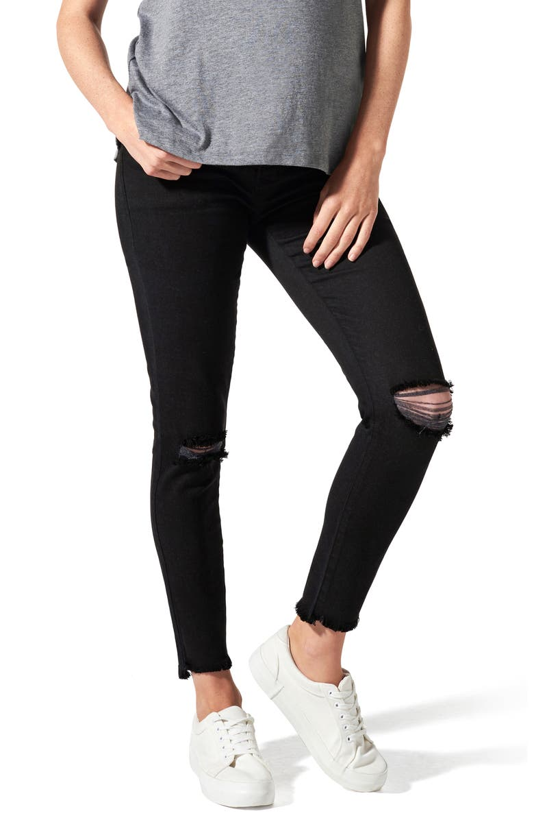 BLANQI Ripped Belly Support Maternity Skinny Jeans, Main, color, BLACK WASH
