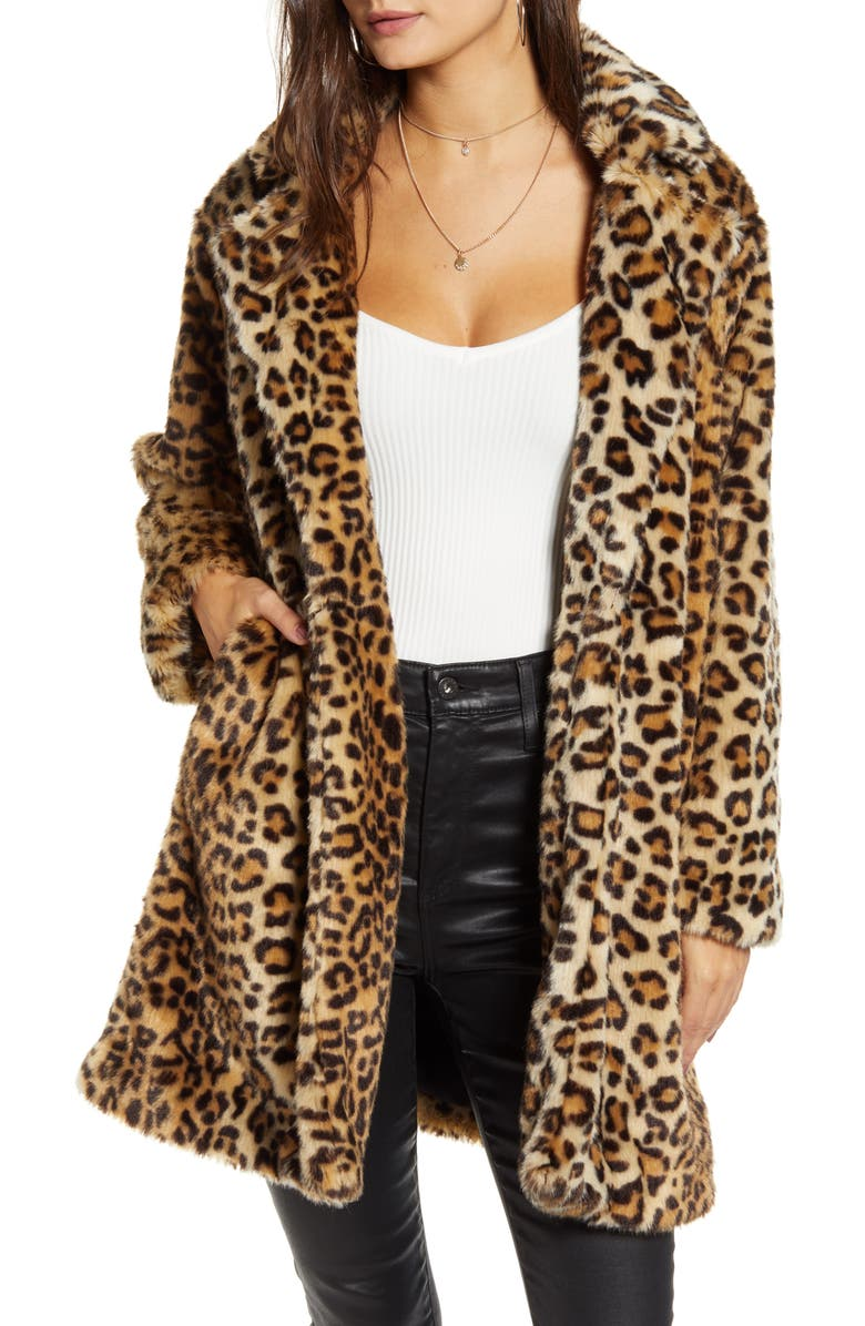BLANKNYC Leopard Faux Fur Coat, Main, color, NOTE TO SELF