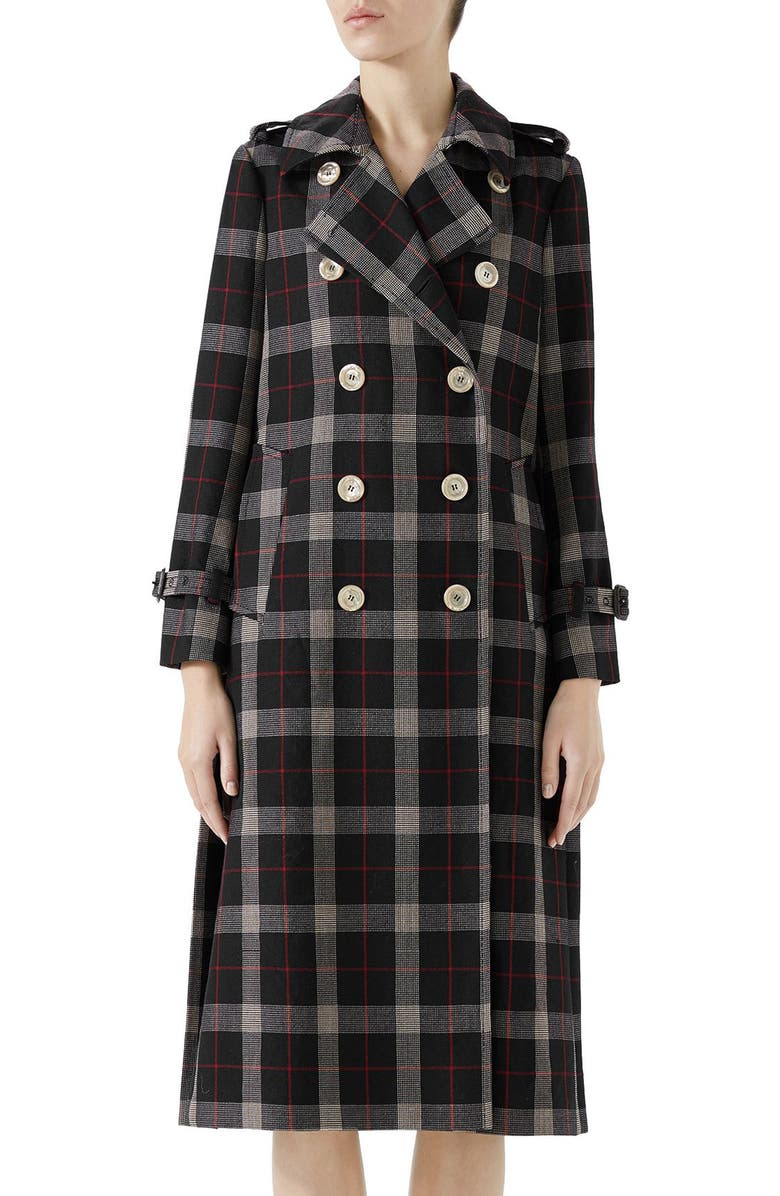 GUCCI Oversize Check Pleated Back Coat, Main, color, INK/ RED/ ROSE BUD