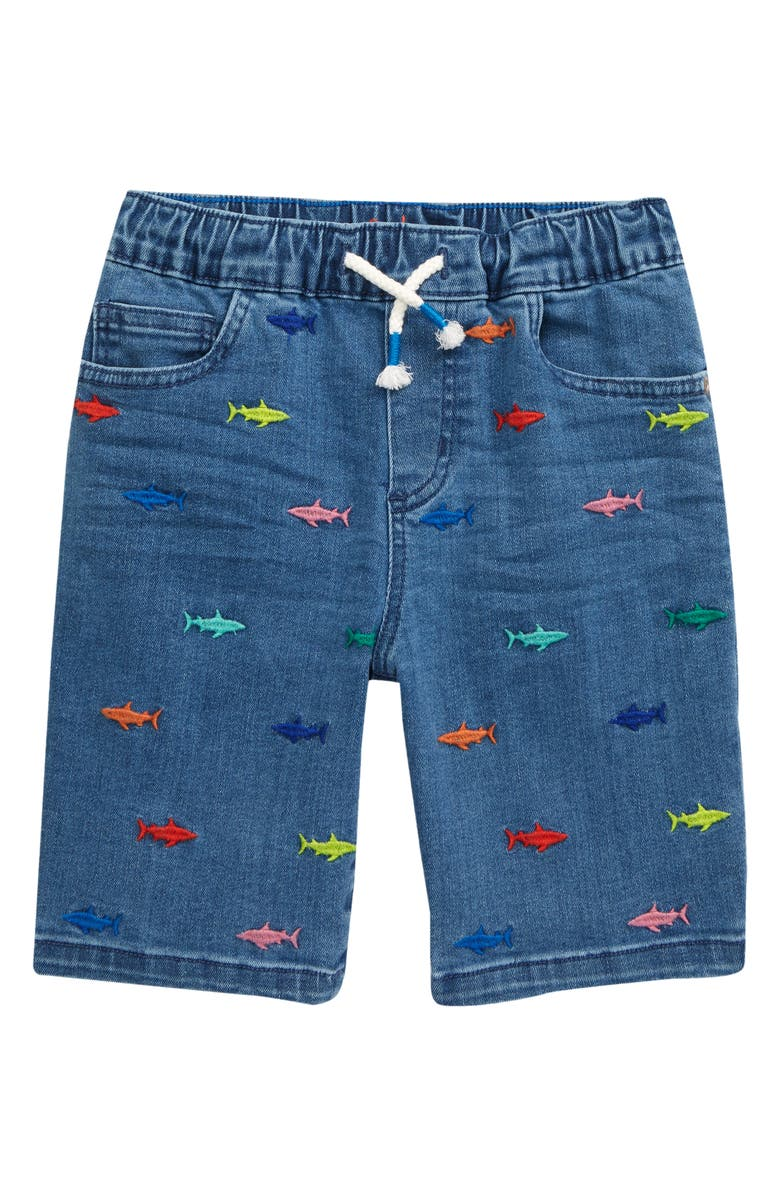 MINI BODEN Kids' Adventure Flex Embroidered Shark Pull-On Denim Shorts, Main, color, SHARK EMBROIDERY