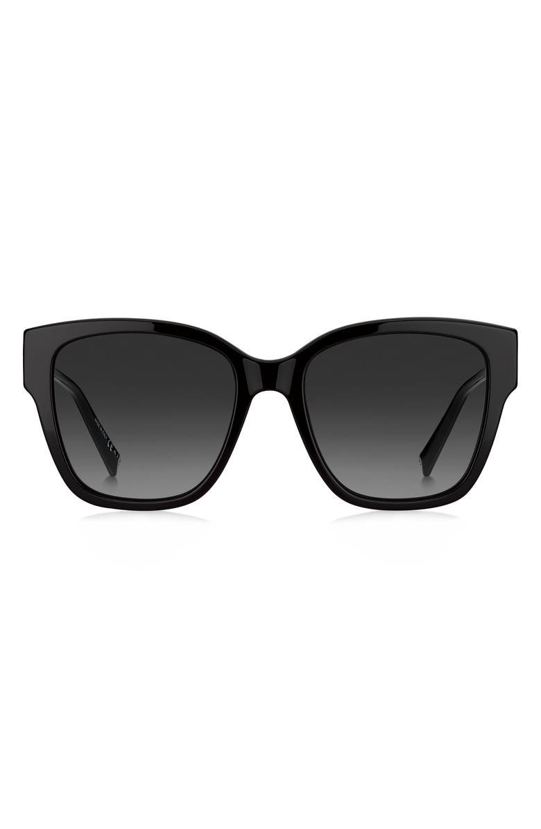 GIVENCHY 55mm Gradient Cat Eye Sunglasses, Main, color, BLACK/ GREY SHADED