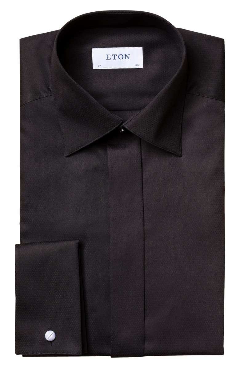 ETON Slim Fit Textured Solid Formal Shirt, Main, color, 001