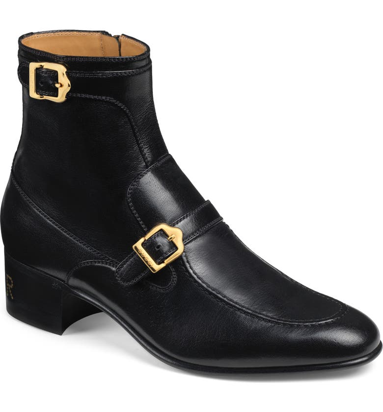 GUCCI Double Buckle Boot, Main, color, 001