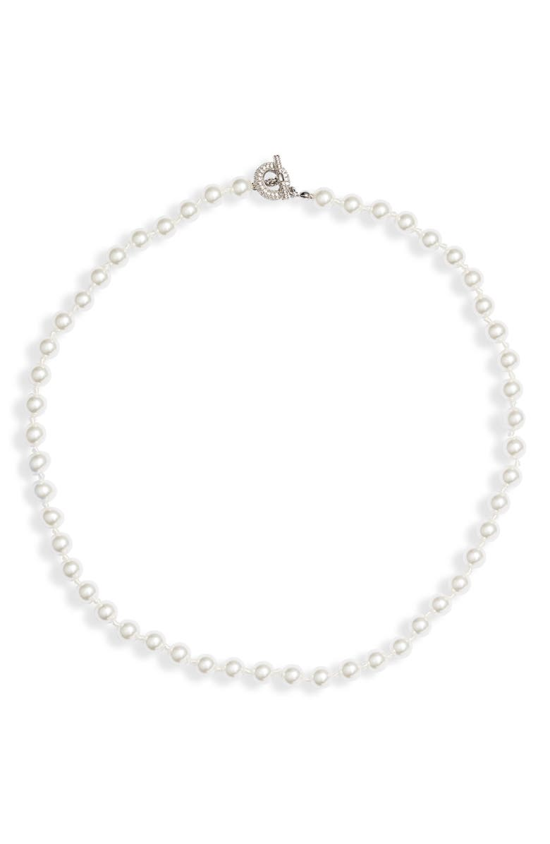 NORDSTROM Timeless Imitation Pearl Collar Necklace, Main, color, WHITE- SILVER