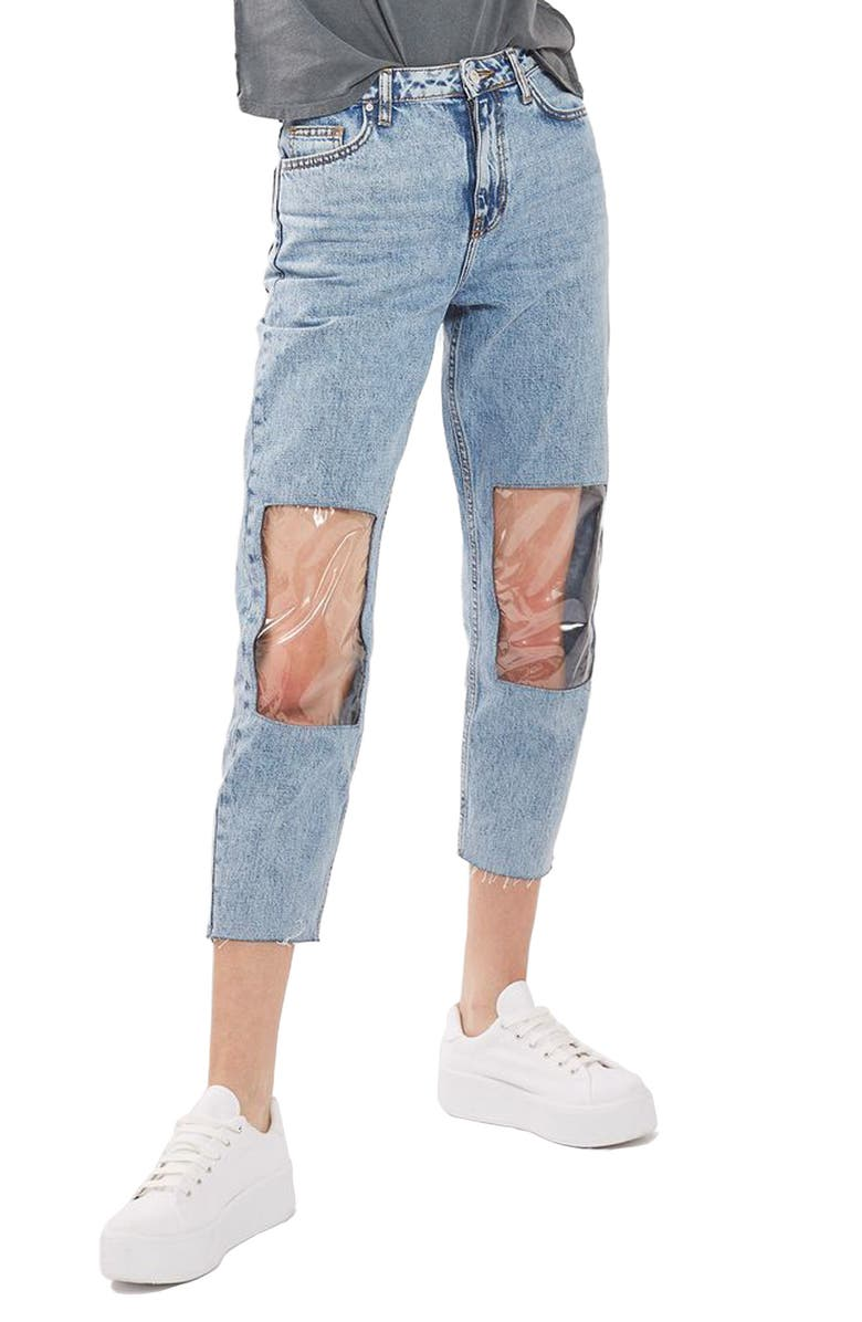 TOPSHOP Clear Knee Mom Jeans, Main, color, 400