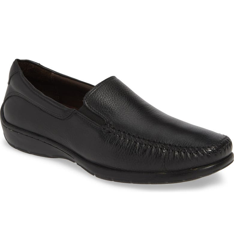 JOHNSTON & MURPHY Crawford Venetian Loafer, Main, color, BLACK LEATHER