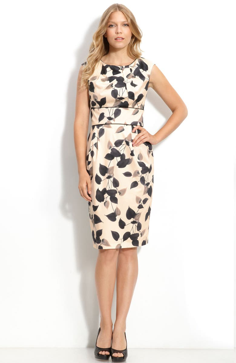 MAGGY LONDON Print Stretch Cotton Sheath Dress, Main, color, 011