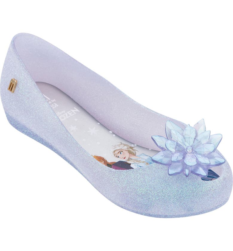 MEL BY MELISSA Disney 'Frozen' Ultragirl Flat, Main, color, CLEAR GLITTER