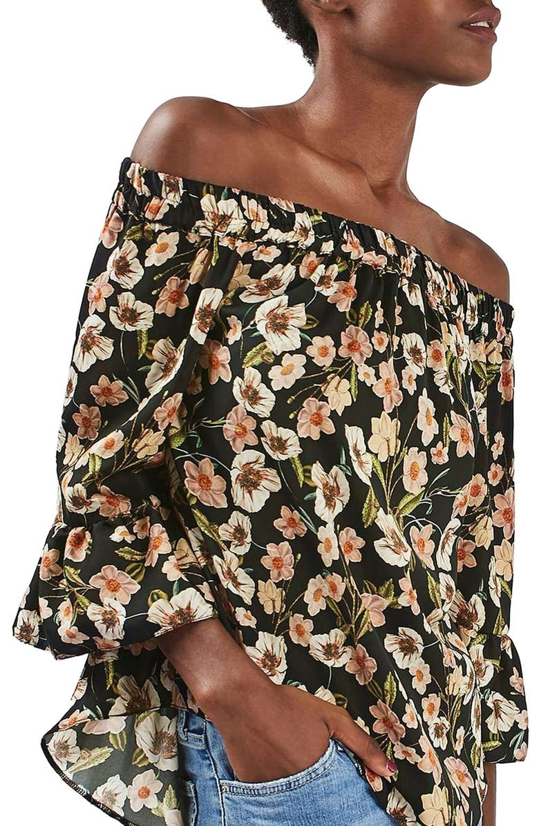 TOPSHOP Floral Off the Shoulder Top, Main, color, 001