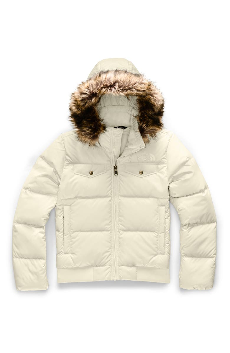 THE NORTH FACE Gotham Water Resistant 550 Fill Power Down Jacket with Faux Fur Trim, Main, color, 100