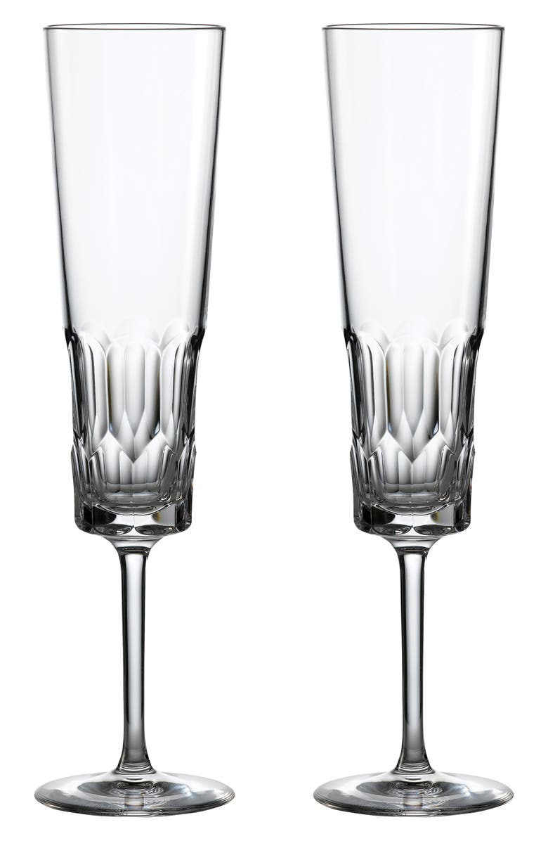 WATERFORD Jeff Leatham Icon Set of 2 Lead Crystal Flutes, Main, color, CLEAR