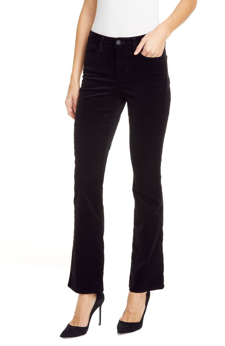 L'AGENCE Oriana High Waist Straight Leg Velveteen Jeans, Main, color, NOIR