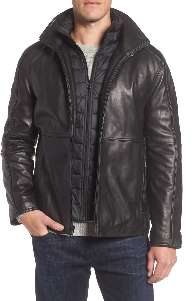 MARC NEW YORK Hartz Leather Jacket with Quilted Bib, Main, color, BLACK