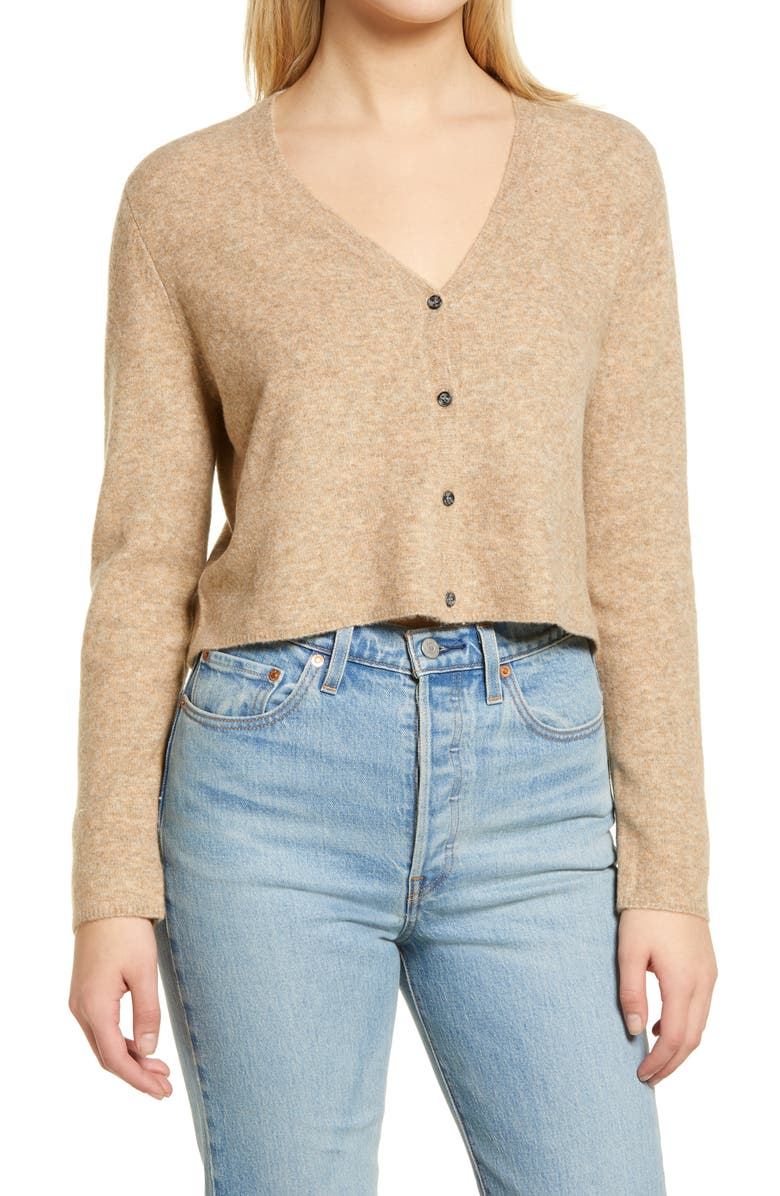 ASTR THE LABEL Crop Cardigan, Main, color, NATURAL