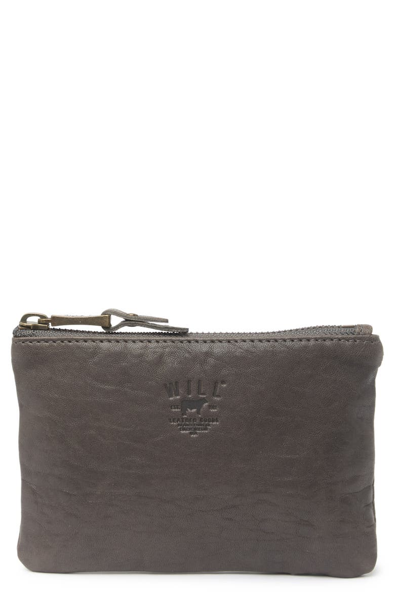 WILL LEATHER GOODS Small Flat Leather Pouch, Main, color, GREY