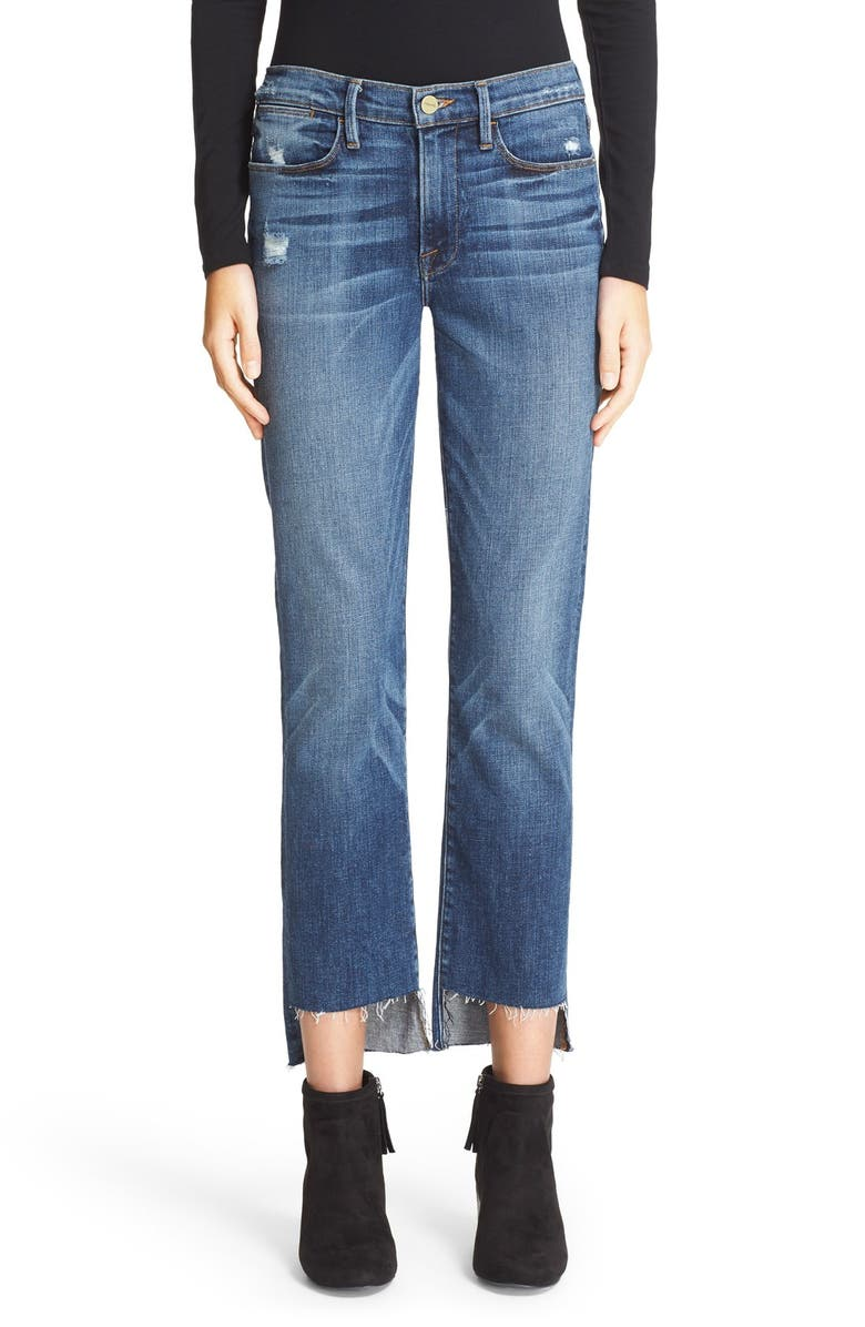 FRAME 'Le High Straight' High Rise Staggered Hem Jeans, Main, color, 401
