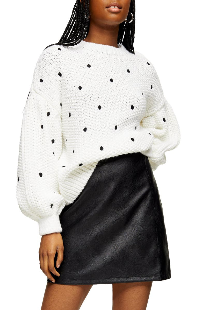 TOPSHOP Spot Embroidered Sweater, Main, color, 900