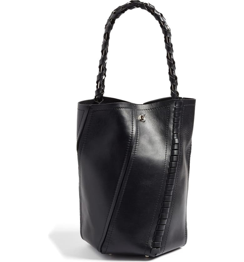PROENZA SCHOULER 'Medium Hex' Whipstitch Leather Bucket Bag, Main, color, 001