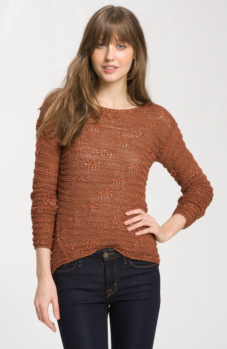 TROUVÉ Textured Stitch Sweater, Main, color, 200
