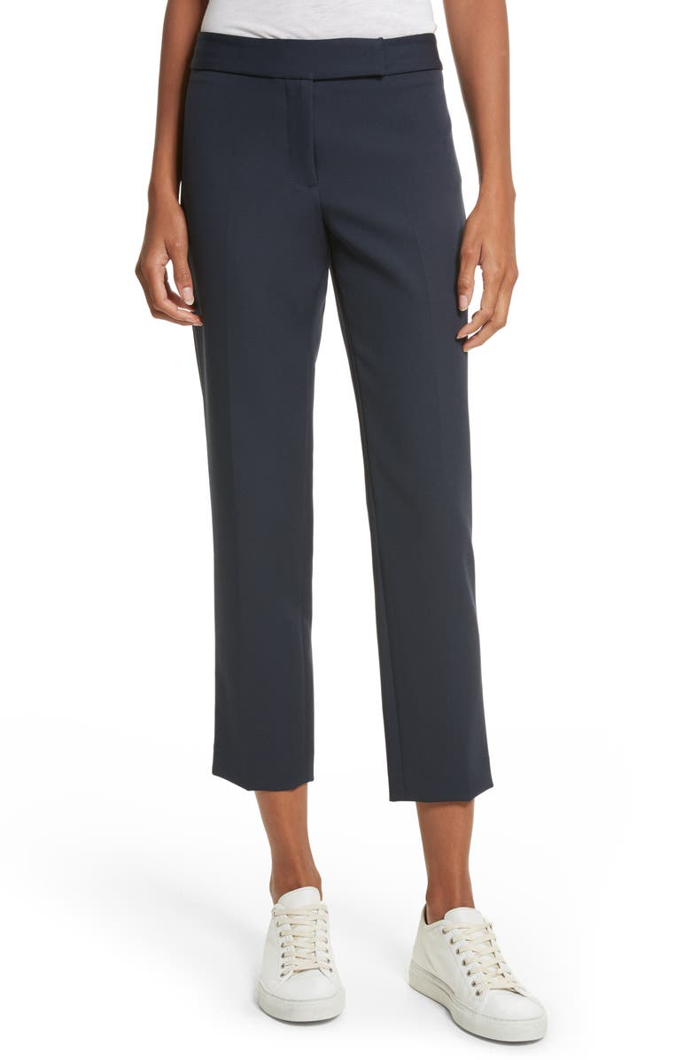 MILLY Stretch Crepe Cigarette Pants, Main, color, NAVY