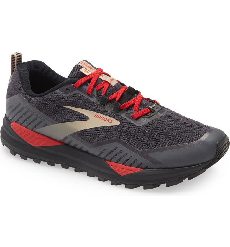 BROOKS Cascadia 15 GTX Gore-Tex<sup>®</sup> Waterproof Trail Running Shoe, Main, color, BLACK/ EBONY/ RED