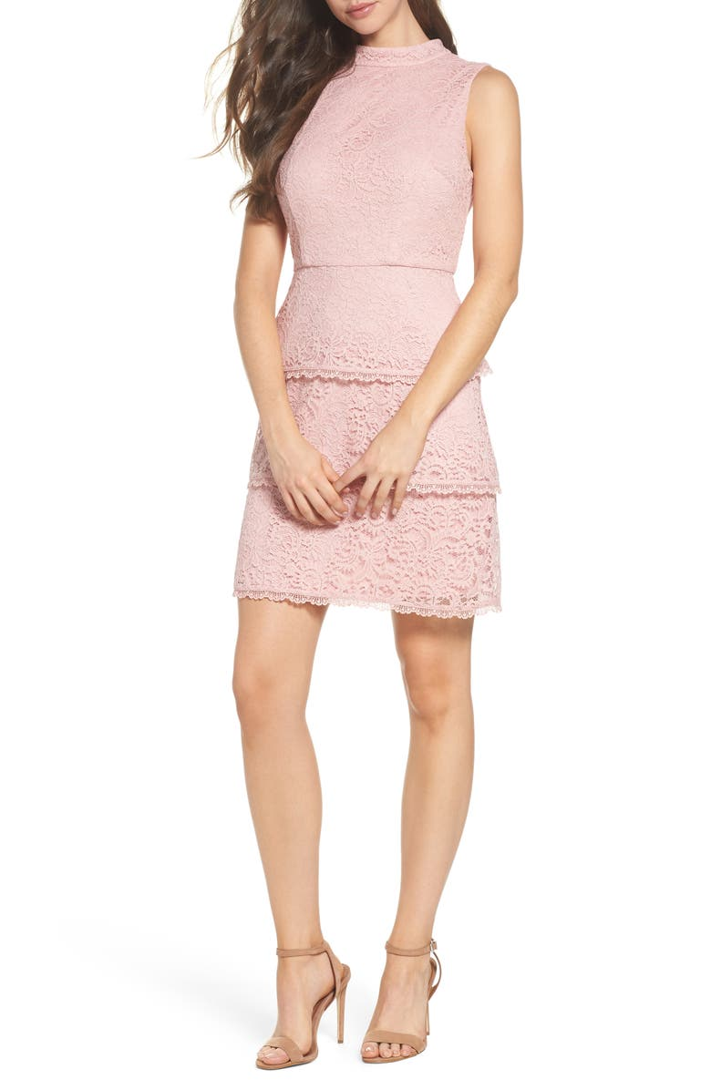 ADRIANNA PAPELL Sophia Tiered Lace Dress, Main, color, LILAC MIST