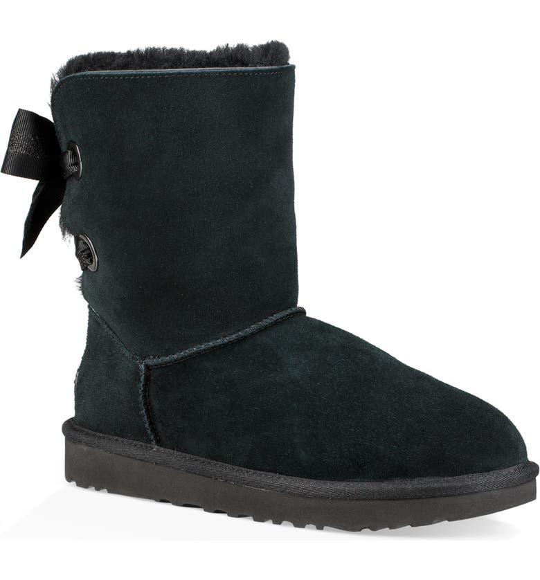 UGG<SUP>®</SUP> Customizable Bailey Bow Genuine Shearling Bootie, Main, color, 001