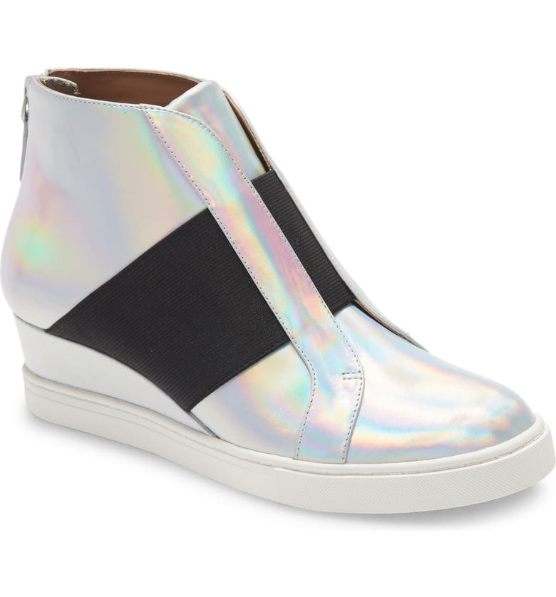 LINEA PAOLO Amber Wedge Sneaker, Main, color, SILVER IRIDESCENT LEATHER