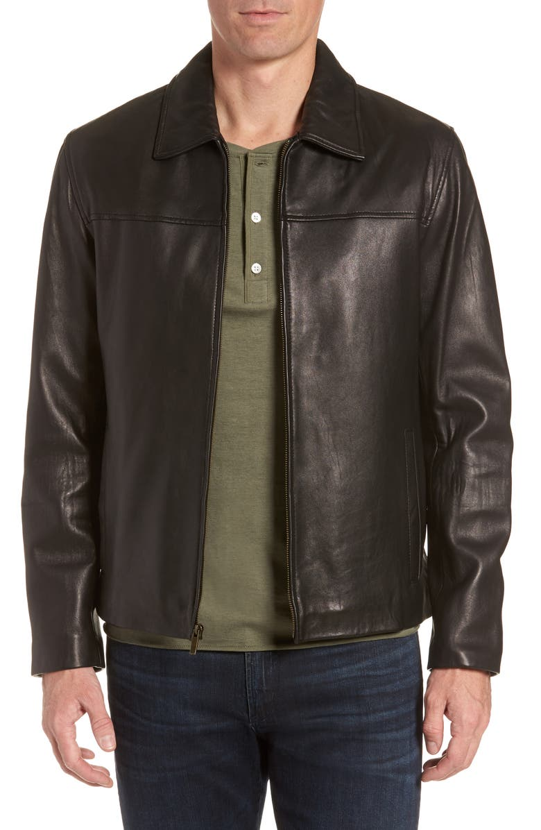 COLE HAAN Lambskin Leather Jacket, Main, color, 001