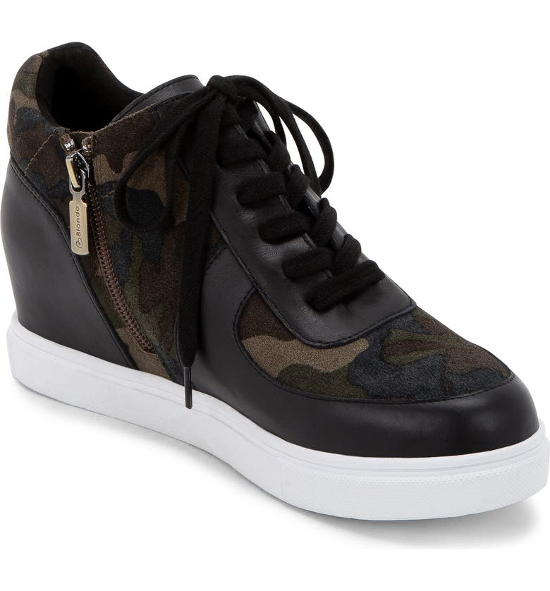 BLONDO Goldy Waterproof Sneaker Bootie, Main, color, BLACK/ CAMOUFLAGE LEATHER
