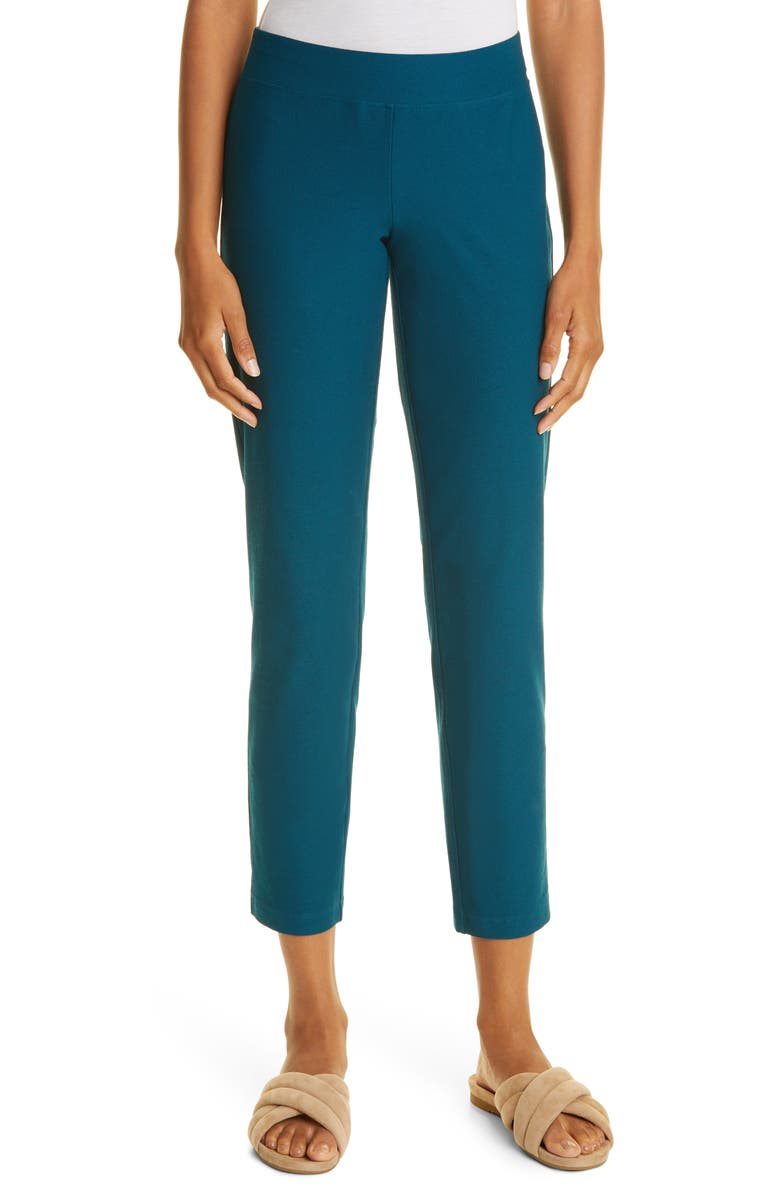 EILEEN FISHER Stretch Crepe Slim Ankle Pants, Main, color, BLUE SPRUCE