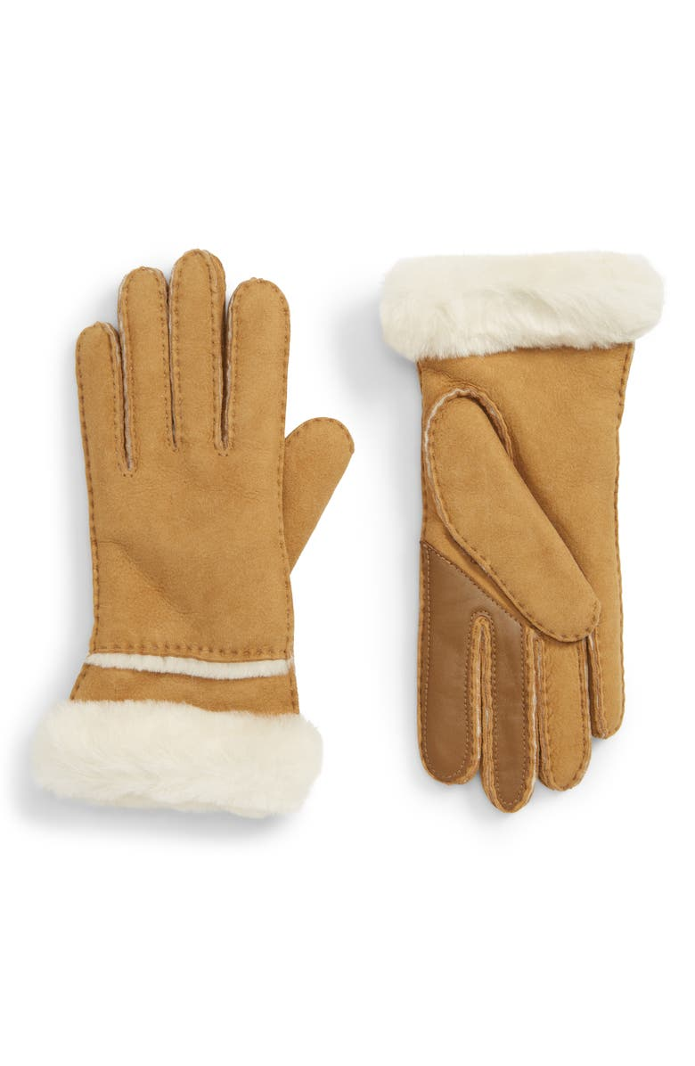 UGG<SUP>®</SUP> Seamed Touchscreen Compatible Gloves with Genuine Shearling Trim, Main, color, CHESTNUT
