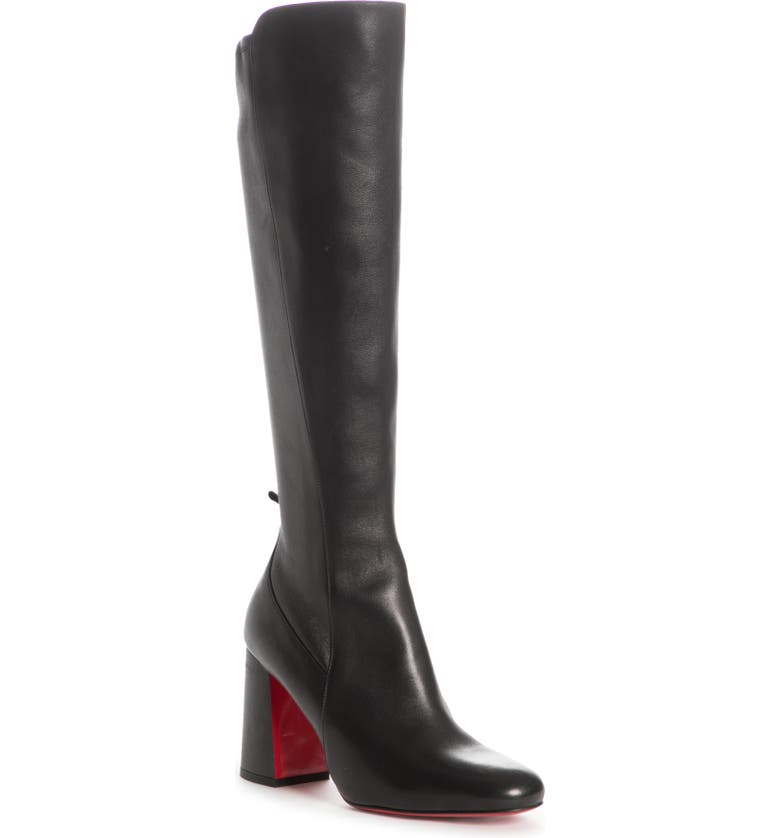 CHRISTIAN LOUBOUTIN Kronobotte Stretch Knee High Boot, Main, color, BLACK LEATHER