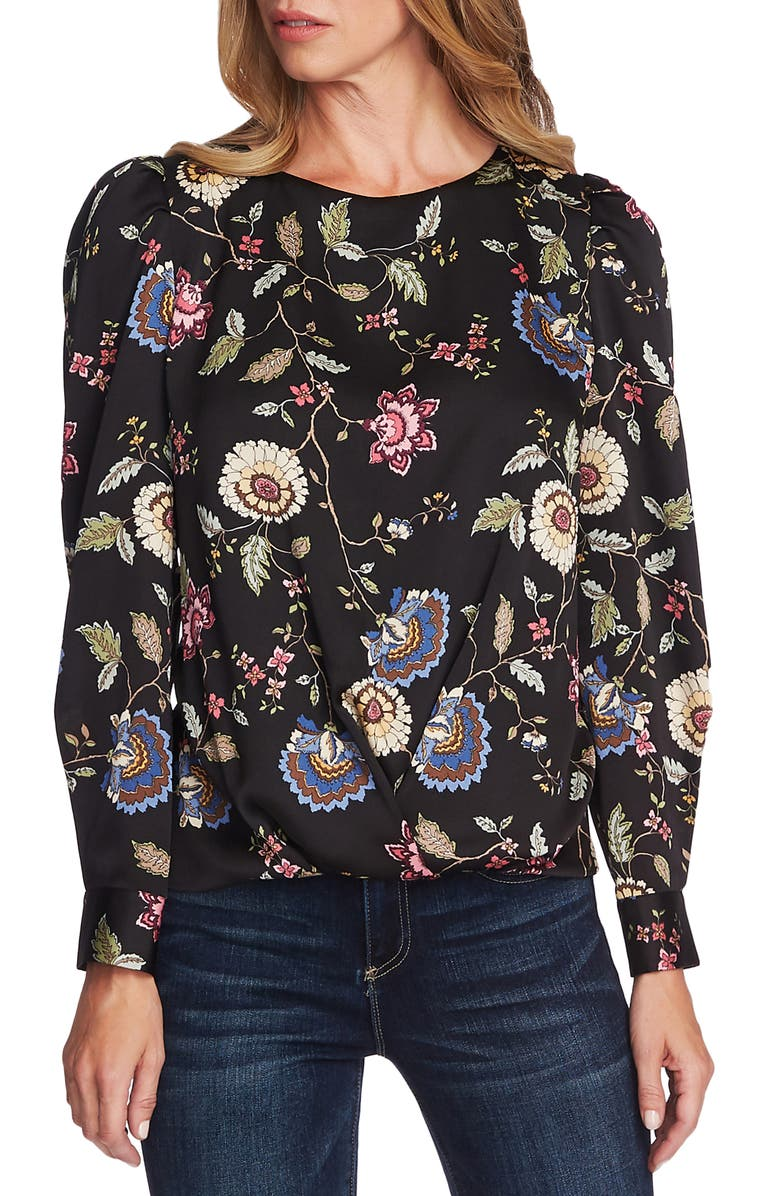VINCE CAMUTO Floral Puff Sleeve Top, Main, color, 006