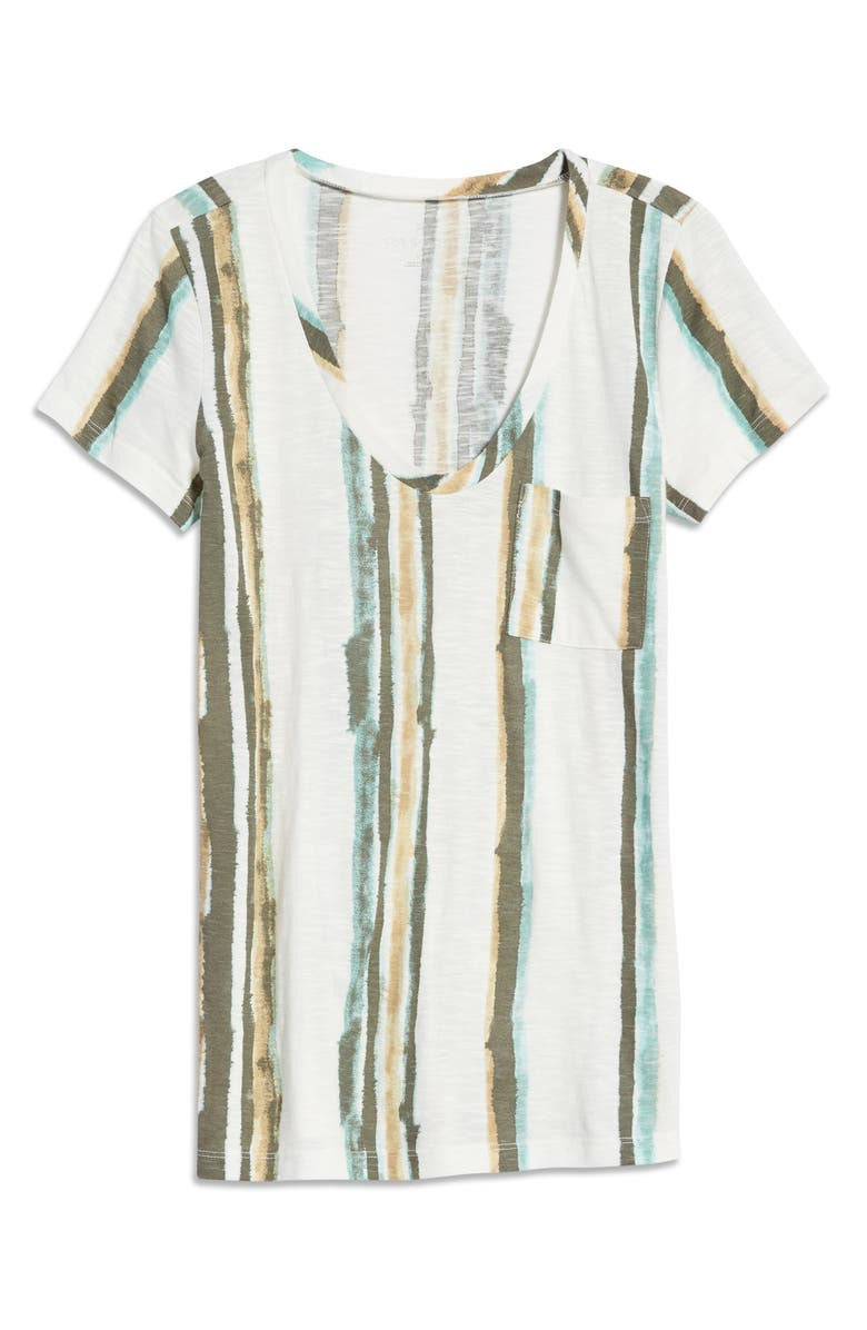 CASLON<SUP>®</SUP> Rounded V-Neck T-Shirt, Main, color, IVORY- GREEN WATERCOLOR STRIPE