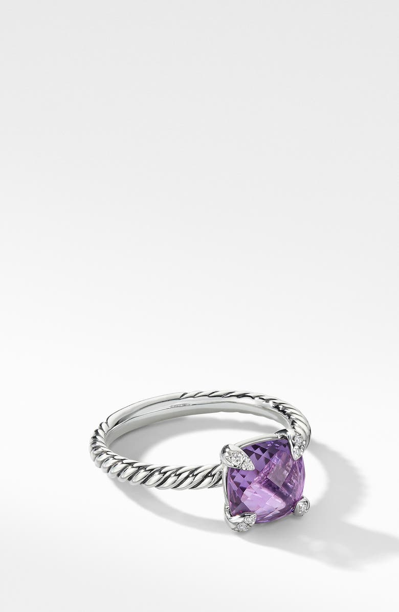 DAVID YURMAN Chatelaine<sup>®</sup> Ring with Semiprecious Stone and Diamonds, Main, color, AMETHYST
