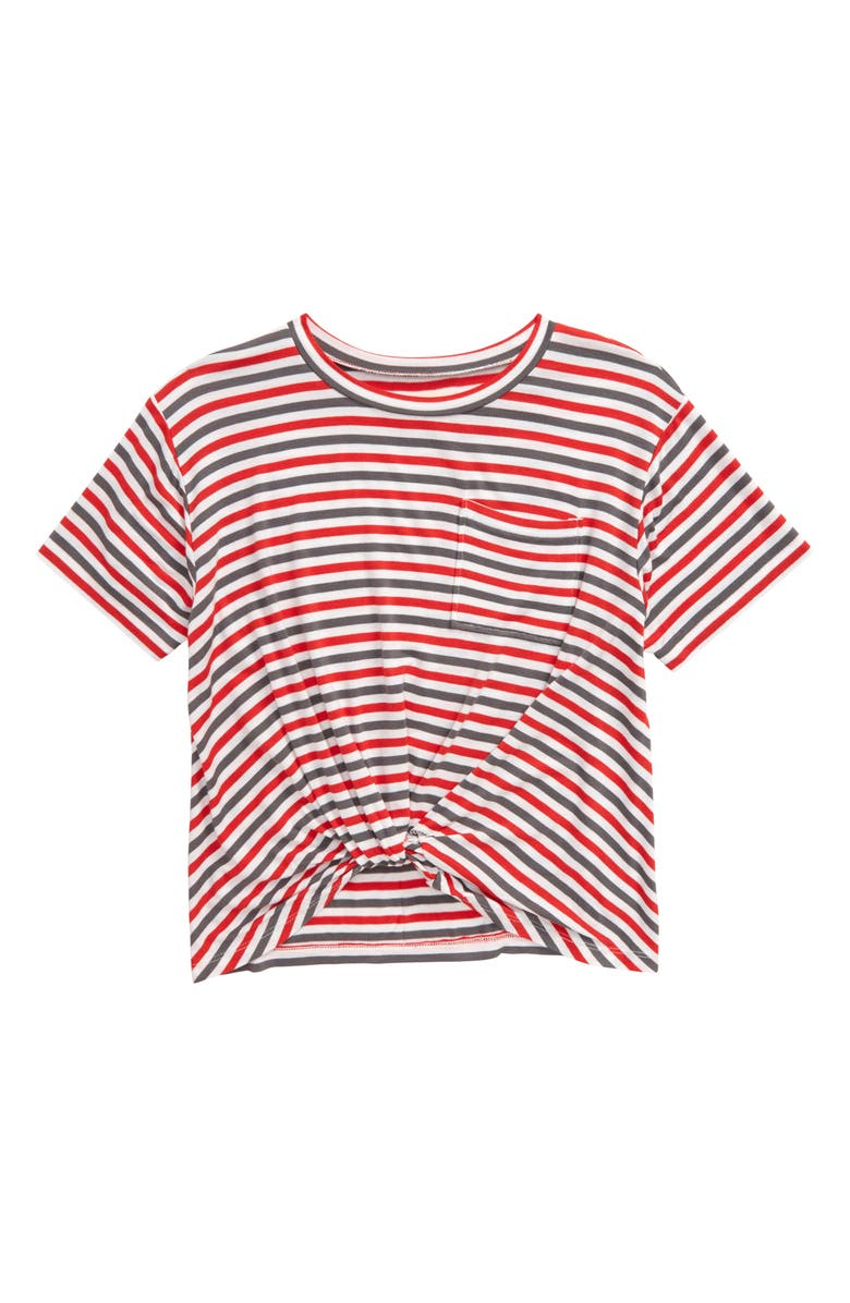 TUCKER + TATE Kids' Knot Front Tee, Main, color, RED BLOOM MULTI STRIPE