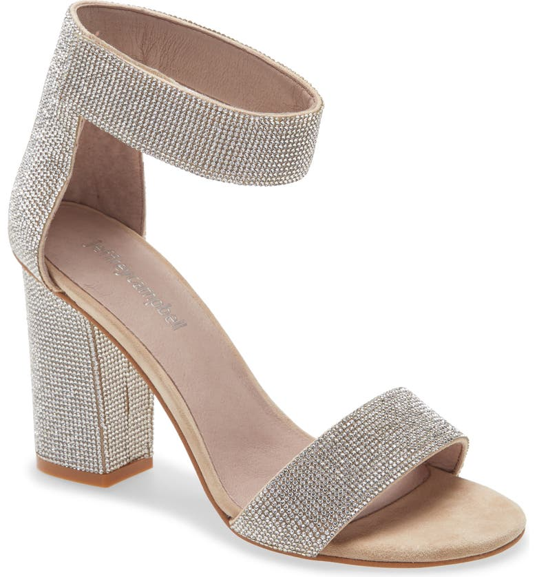 JEFFREY CAMPBELL Kassidy Ankle Strap Sandal, Main, color, NUDE SUEDE CHAMPAGNE