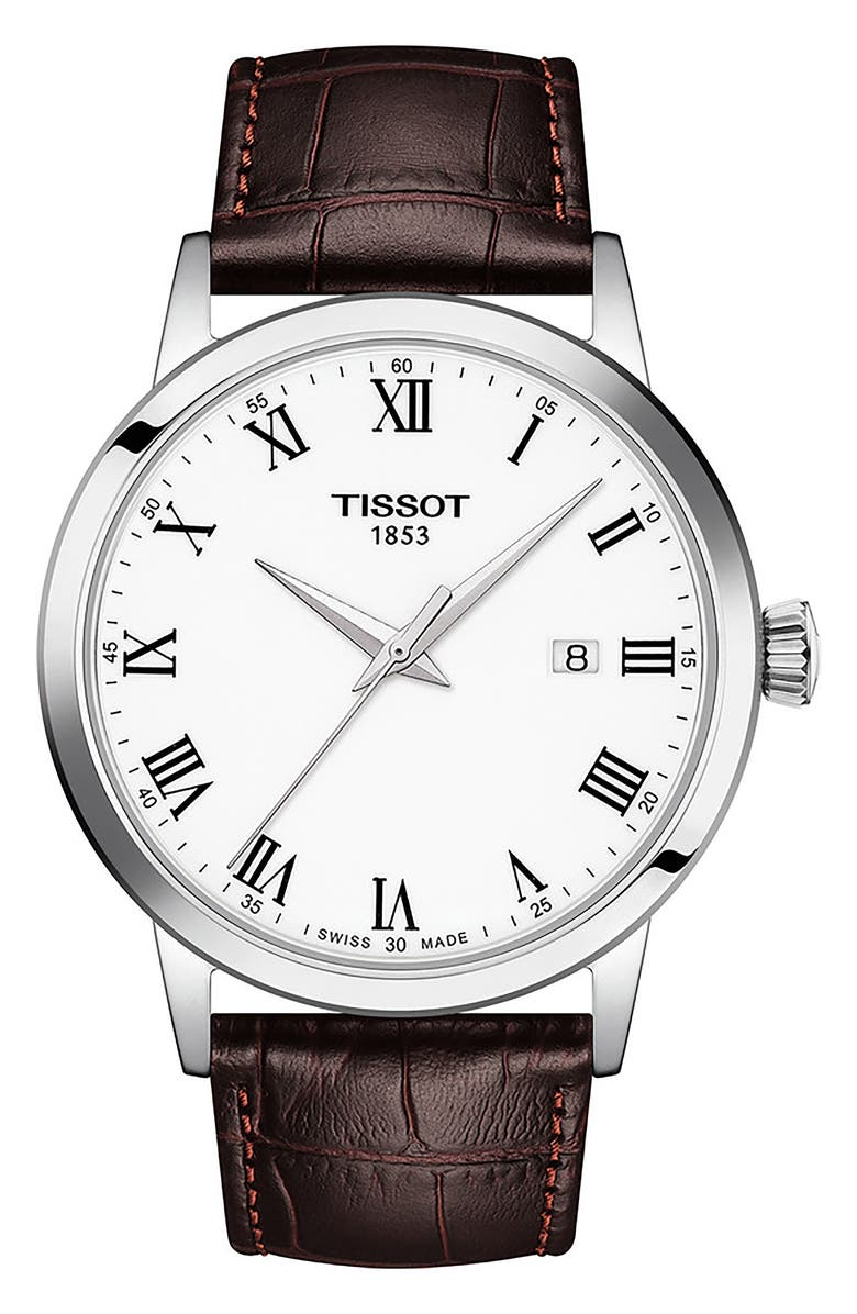 TISSOT Classic Dream Leather Strap Watch, 42mm, Main, color, WHITE