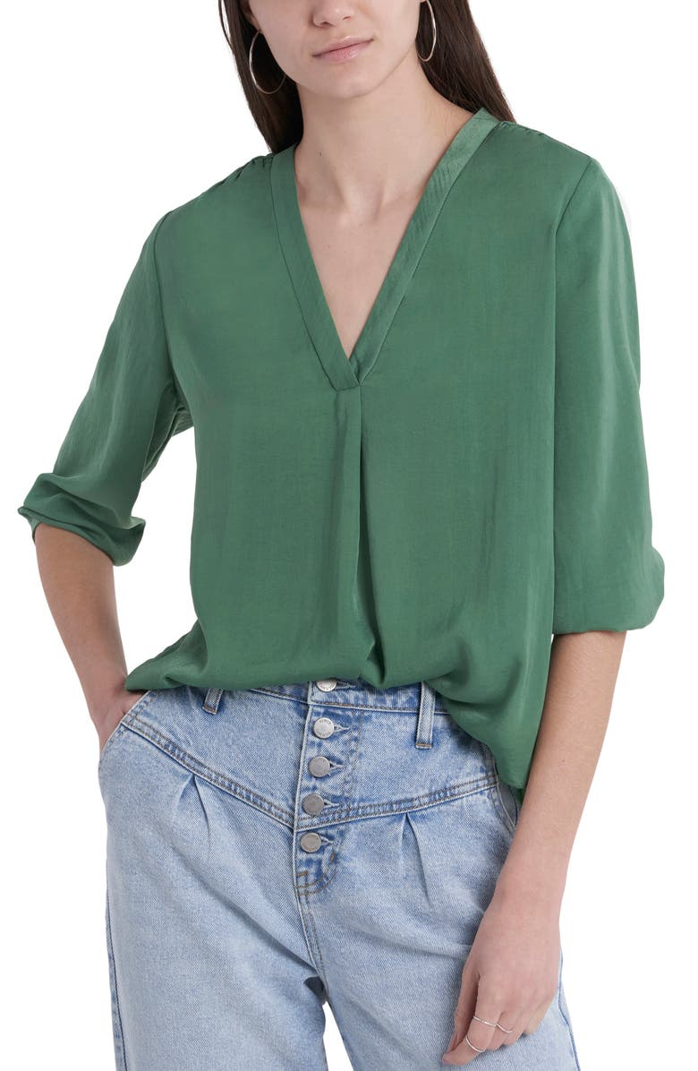VINCE CAMUTO Rumple Fabric Blouse, Main, color, LUSH EDEN