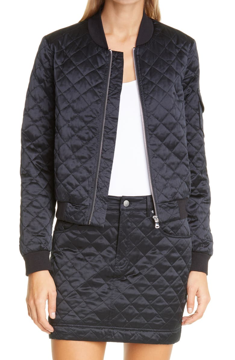 CAMI NYC The Dierdre Quilted Bomber Jacket, Main, color, BLACK