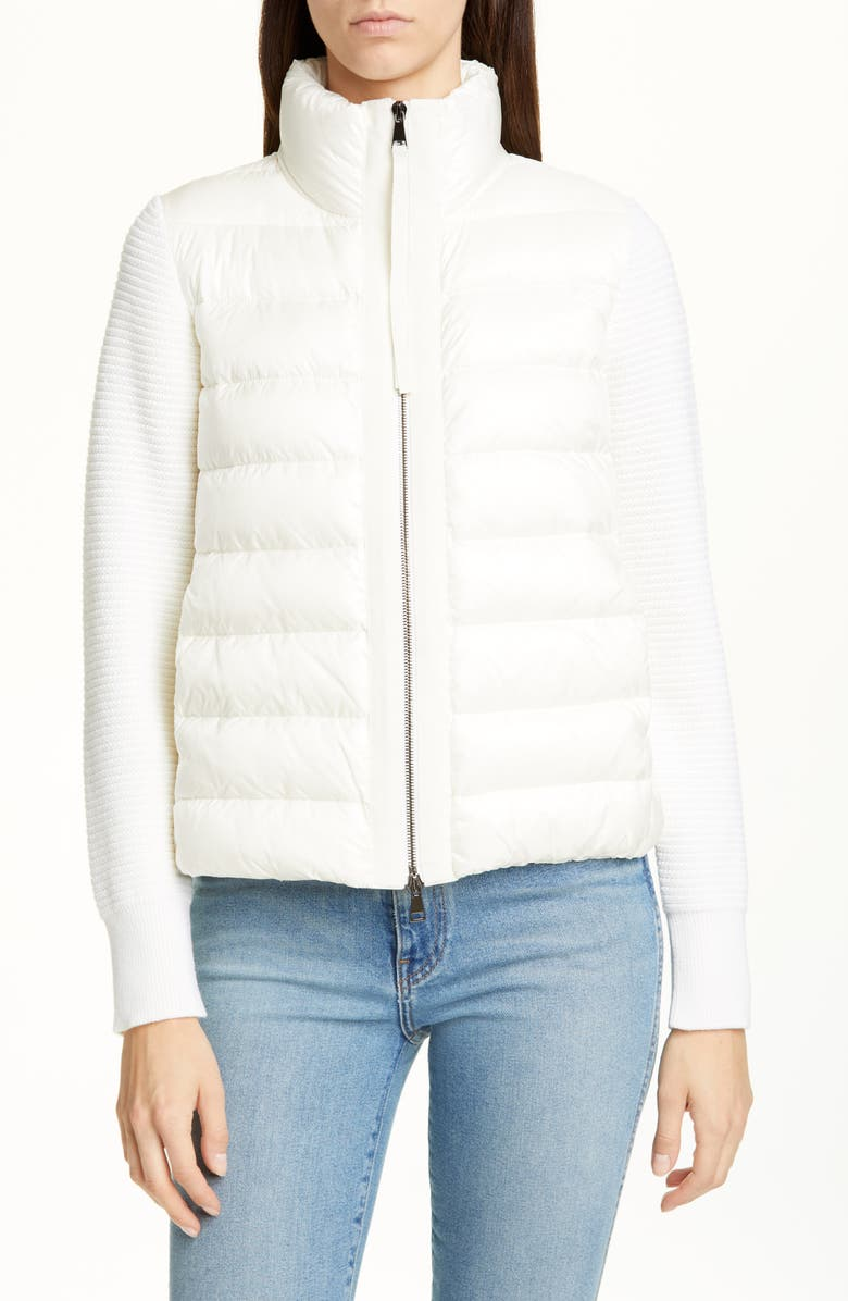 MONCLER Quilted Down & Wool Short Cardigan, Main, color, NATURAL