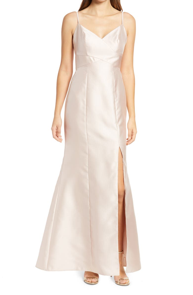 ALFRED SUNG Surplice Neck Satin Twill Trumpet Gown, Main, color, CAMEO