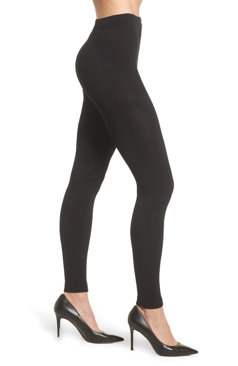 NORDSTROM Fleece Lined Footless Tights, Main, color, BLACK