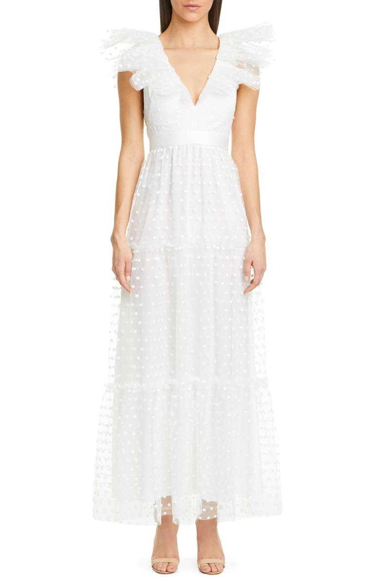 PHILOSOPHY DI LORENZO SERAFINI Swiss Dot Tulle Gown, Main, color, 100