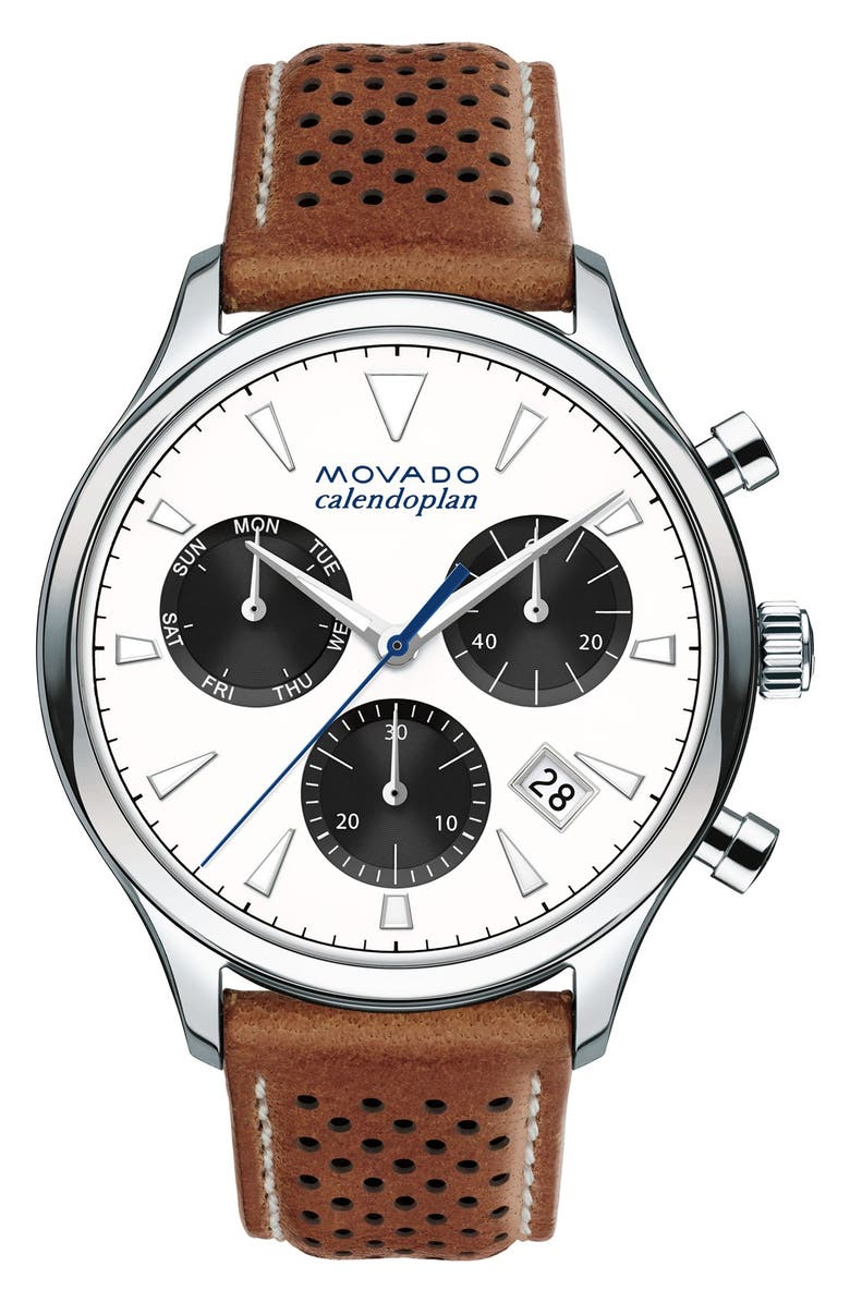 MOVADO 'Heritage' Chronograph Leather Strap Watch, 43mm, Main, color, 100