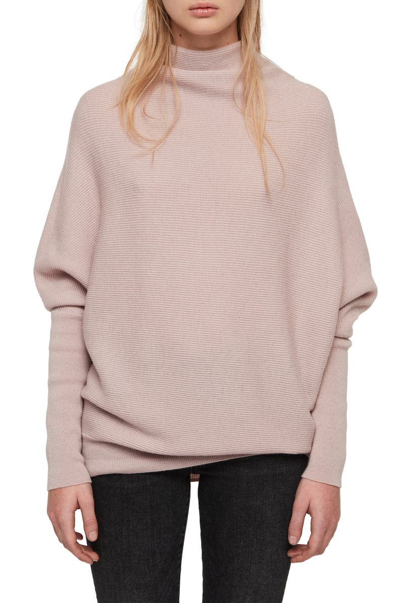 ALLSAINTS Ridley Funnel Neck Wool & Cashmere Sweater, Main, color, BABY PINK